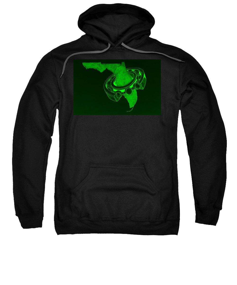 Florida Logo Sweatshirt featuring the photograph Fla Sprocket Green by Rob Hans