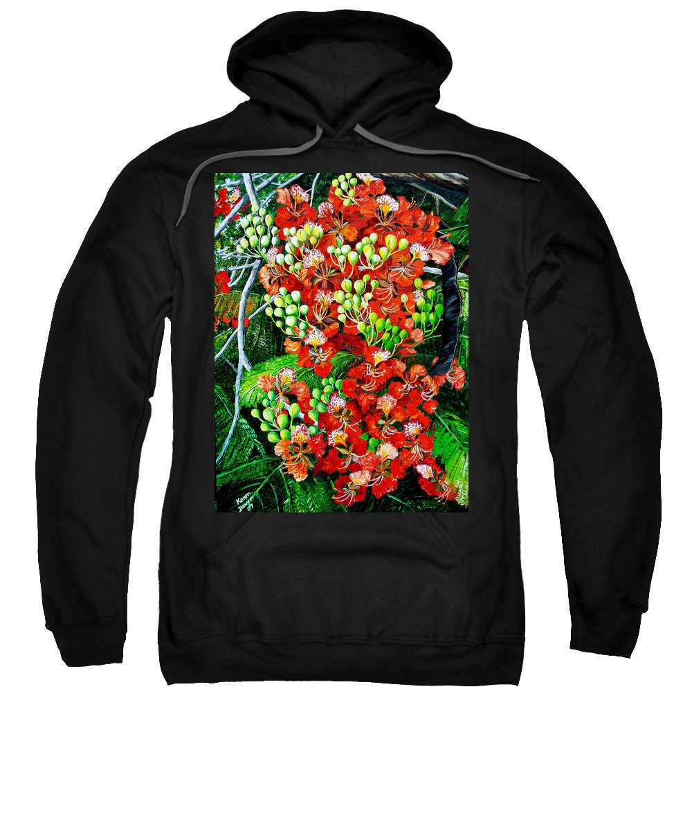 Royal Poincianna Painting Flamboyant Painting Tree Painting Botanical Tree Painting Flower Painting Floral Painting Bloom Flower Red Tree Tropical Paintinggreeting Card Painting Sweatshirt featuring the painting Flamboyant In Bloom by Karin Dawn Kelshall- Best