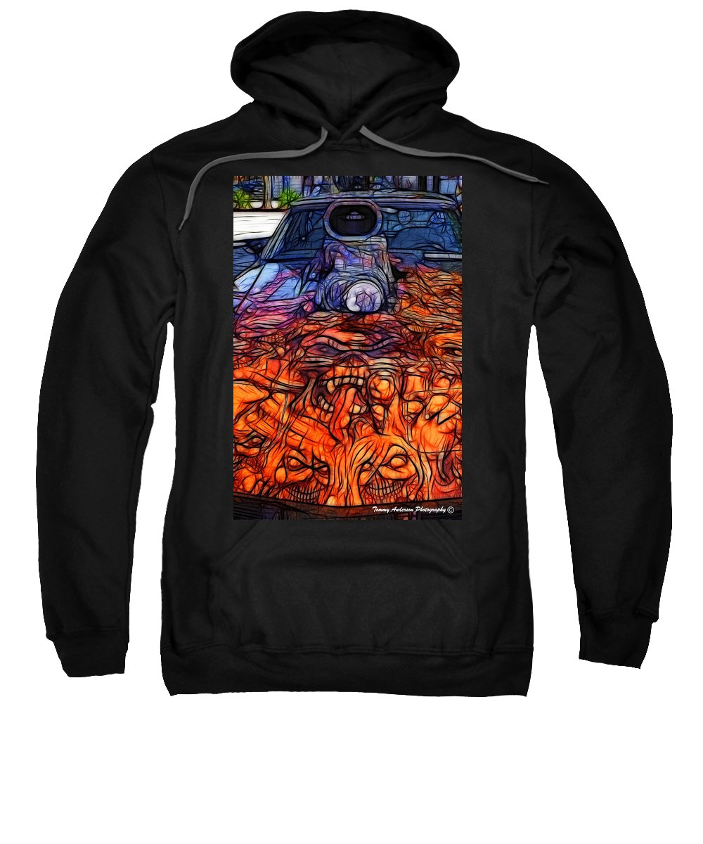 Corvette Sweatshirt featuring the photograph Flaming Vette 2 by Tommy Anderson