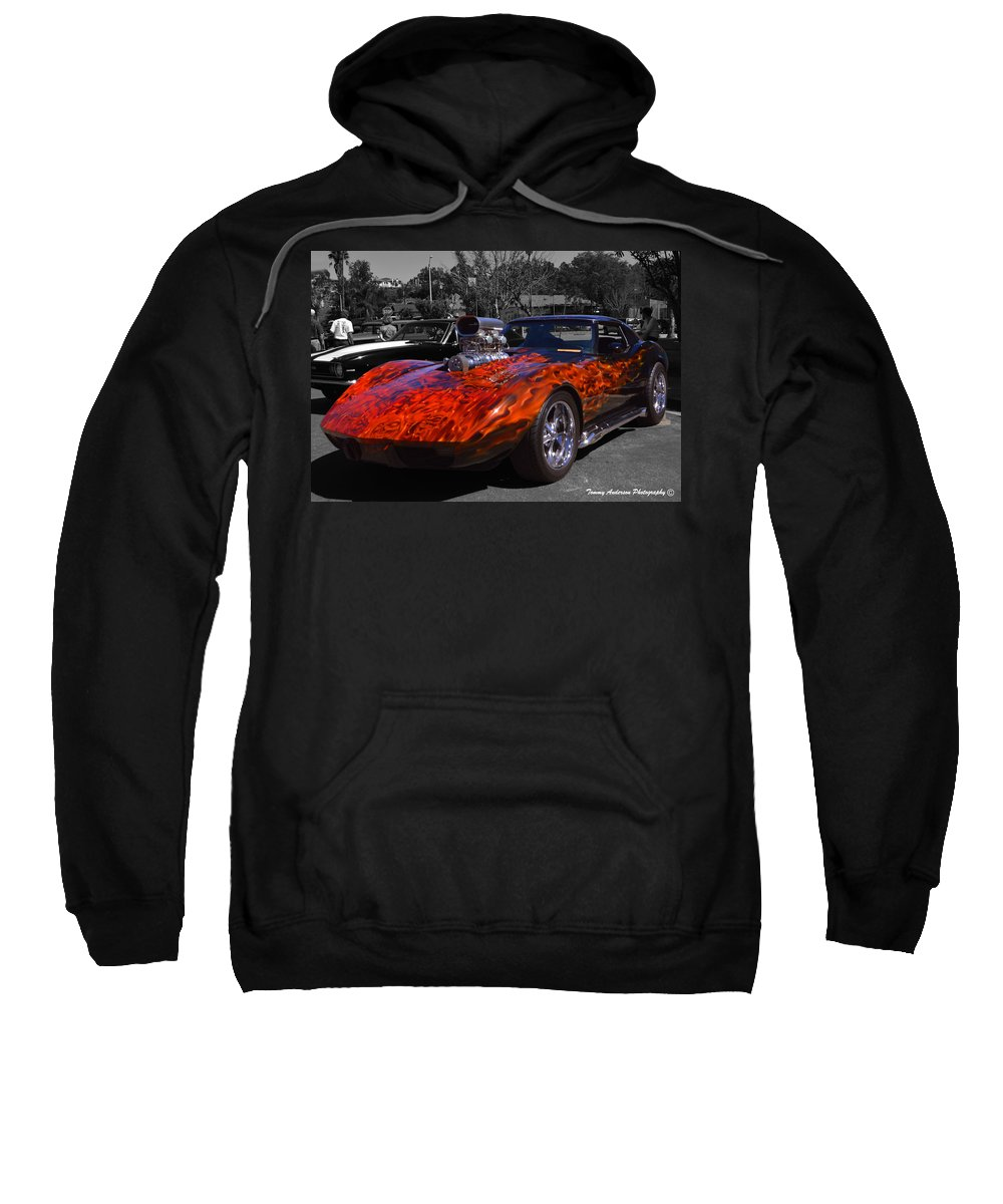 Corvette Sweatshirt featuring the photograph Flaming Vette by Tommy Anderson