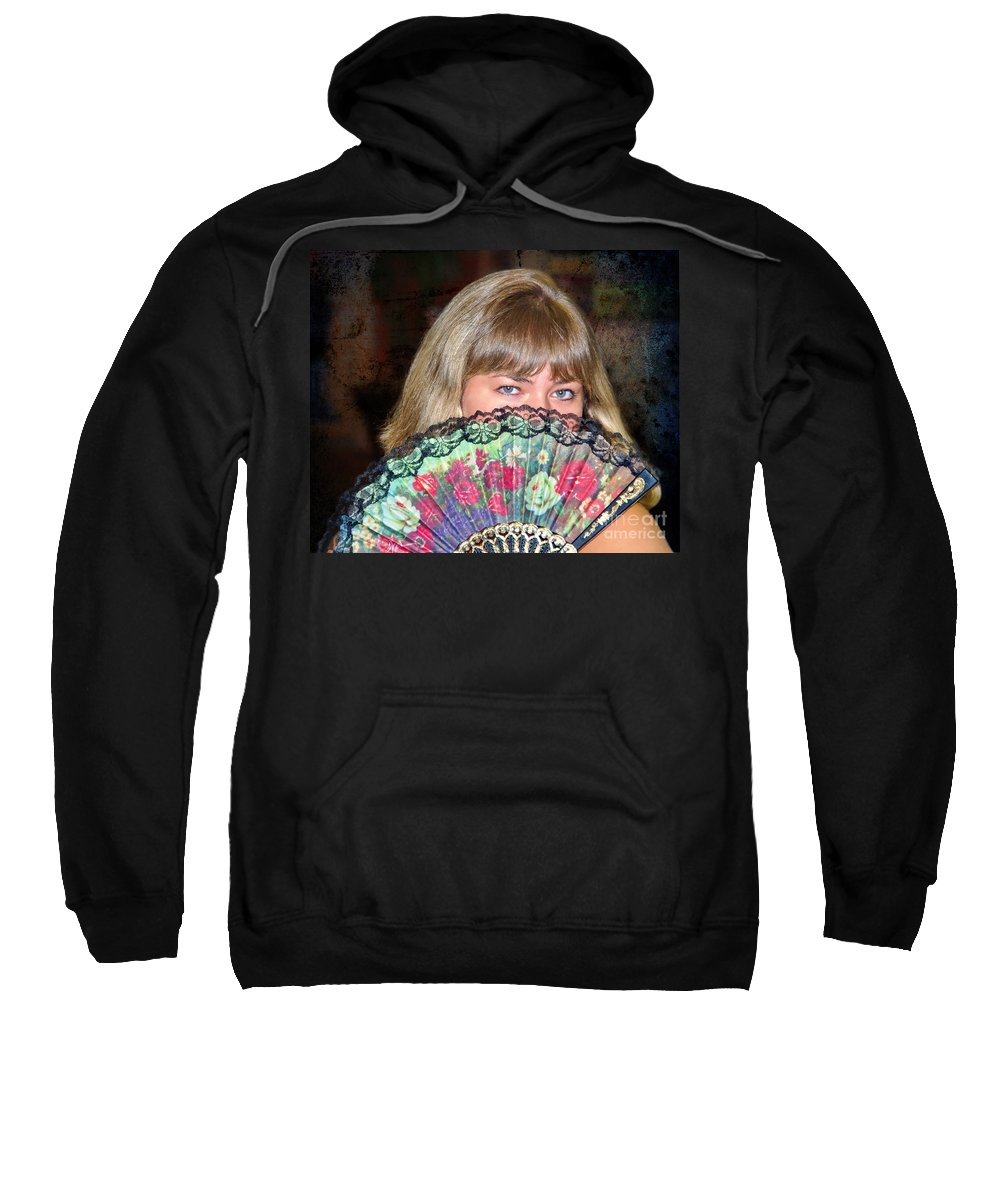 Flirty Sweatshirt featuring the photograph Flirting With The Fan by Mariola Bitner