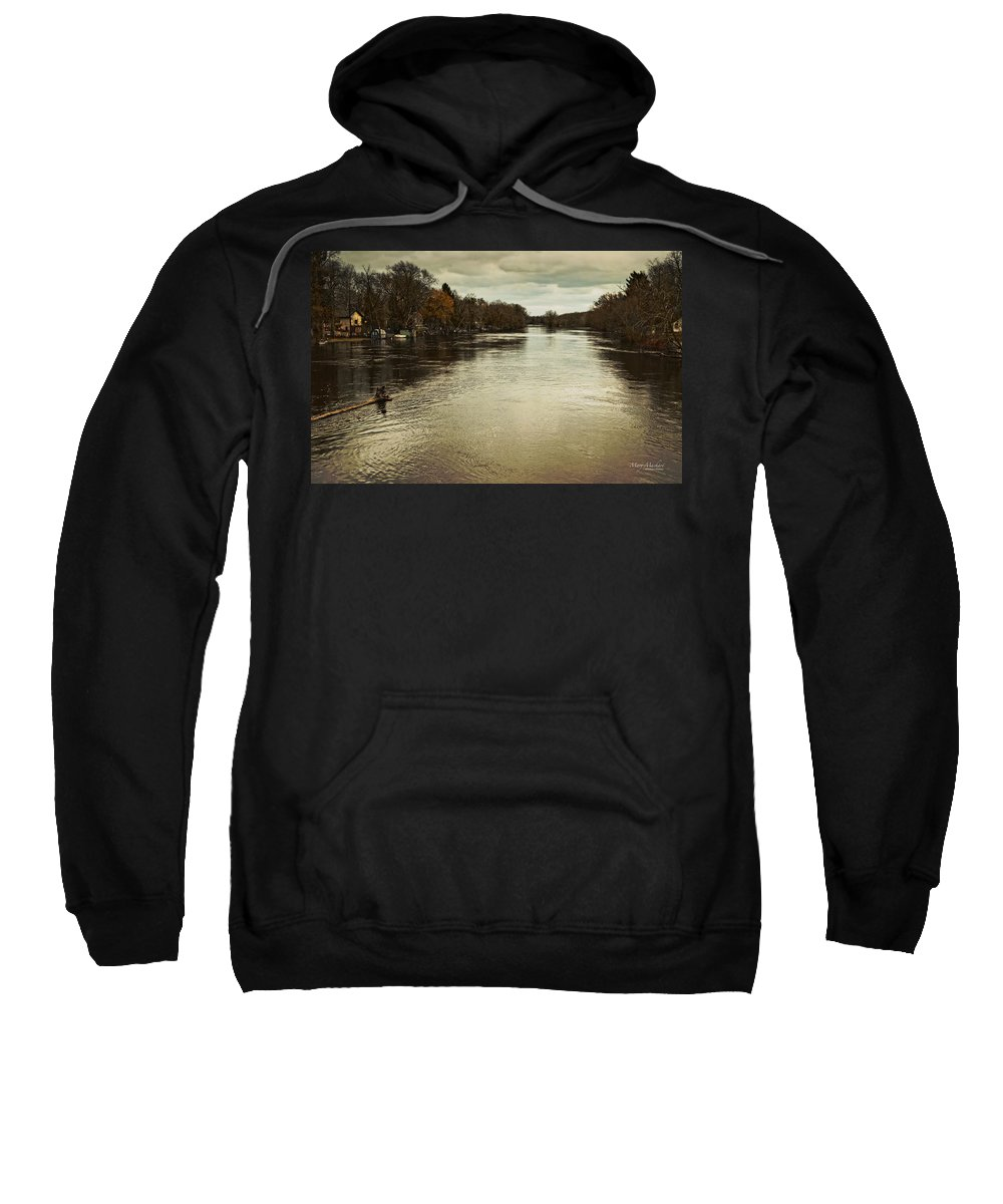 Flood Waters Sweatshirt featuring the photograph Flood Waters Milwaukee River 2013 by Mary Machare