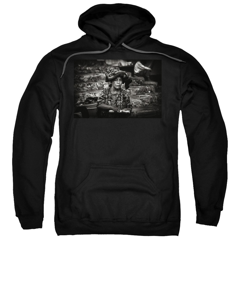 Woman Sweatshirt featuring the photograph Flower Vendor by Tom Bell