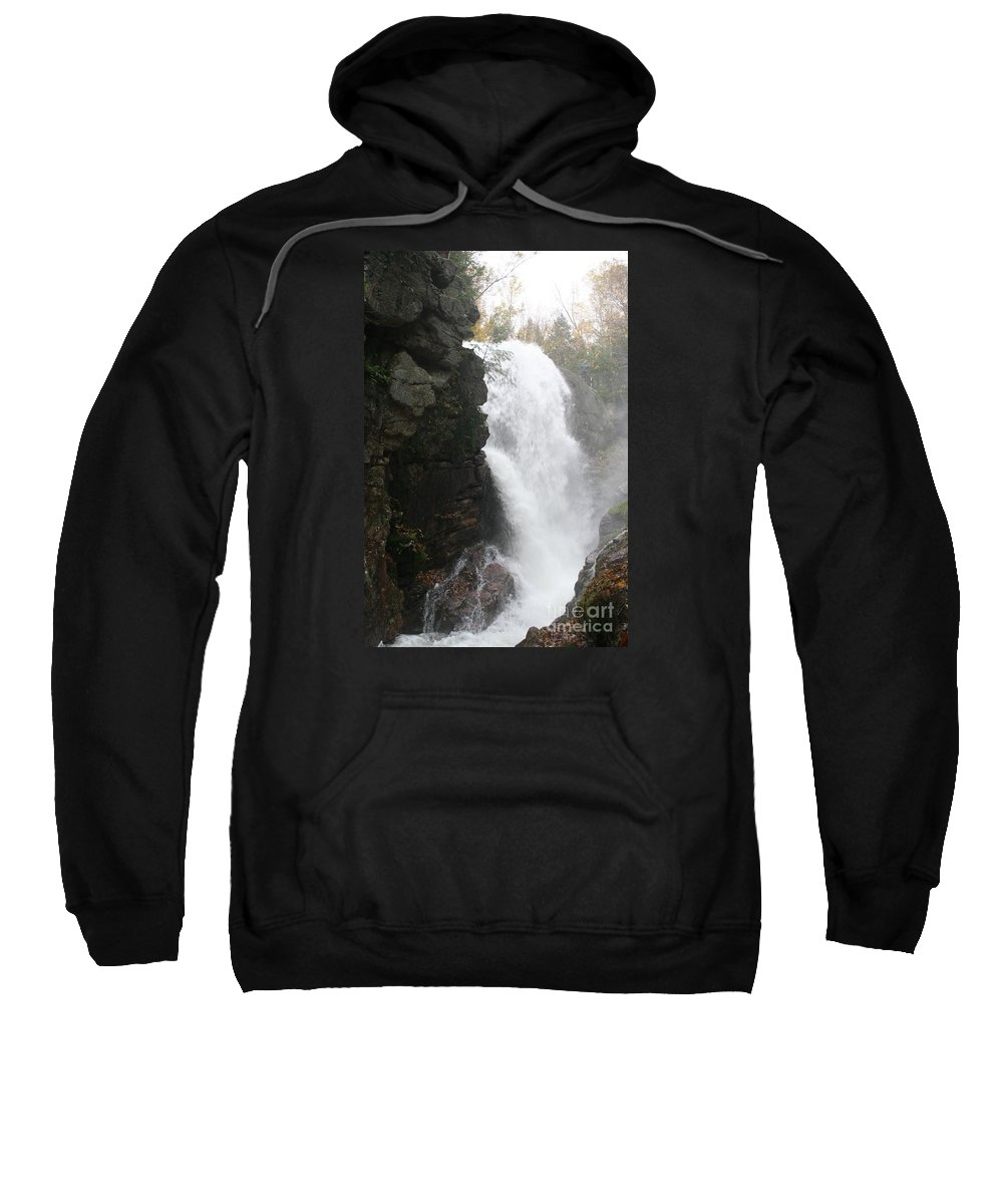 Waterfall Sweatshirt featuring the photograph Flume Gorge Waterfall In Autumn by Christiane Schulze Art And Photography