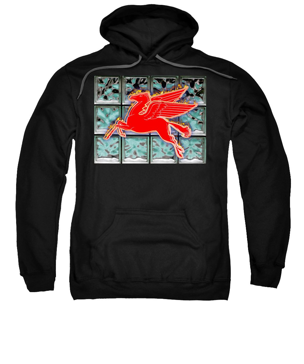 Red Sweatshirt featuring the digital art Flying Fire Horse by Keith Dillon