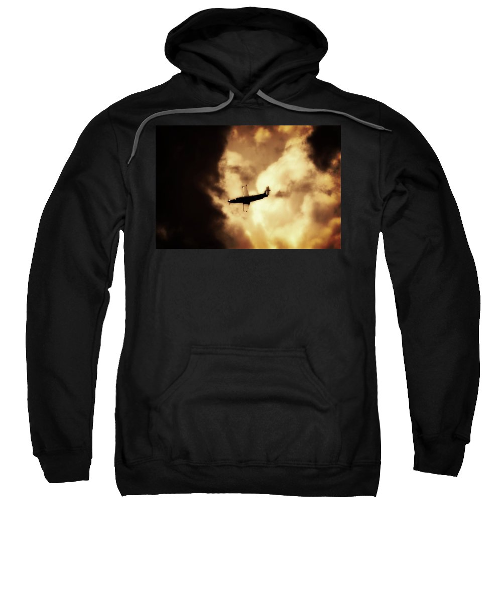 Pilatus Pc 12 Sweatshirt featuring the photograph Flying Into The Storm by Paul Job