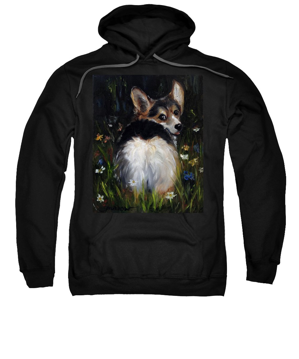 Cardigan Welsh Corgi Sweatshirt featuring the painting Follow Me by Mary Sparrow