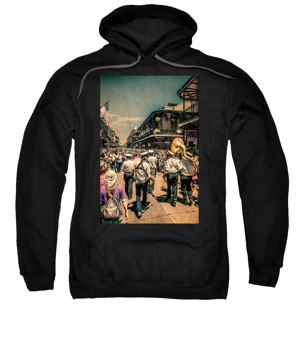 2nd Line Sweatshirt featuring the photograph Follow That Band by Melinda Ledsome