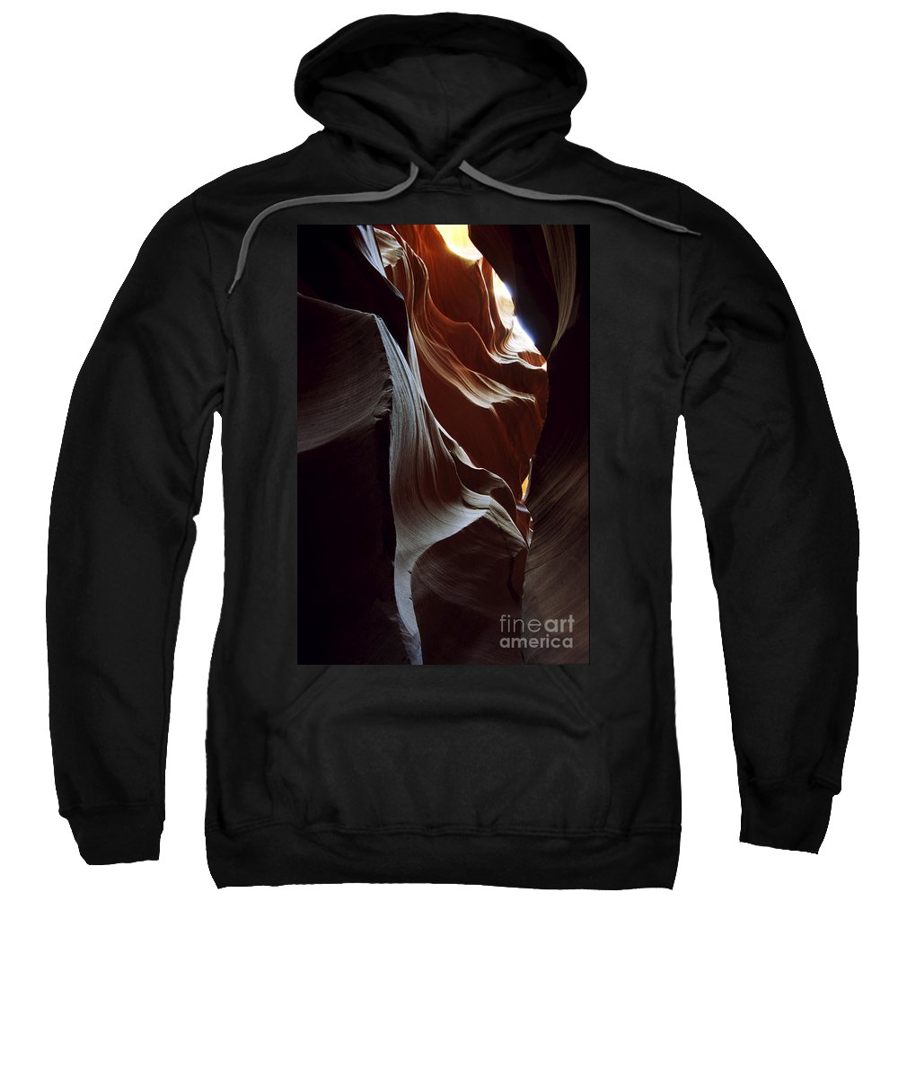 Antelope Canyon Sweatshirt featuring the photograph Follow The Light by Kathy McClure