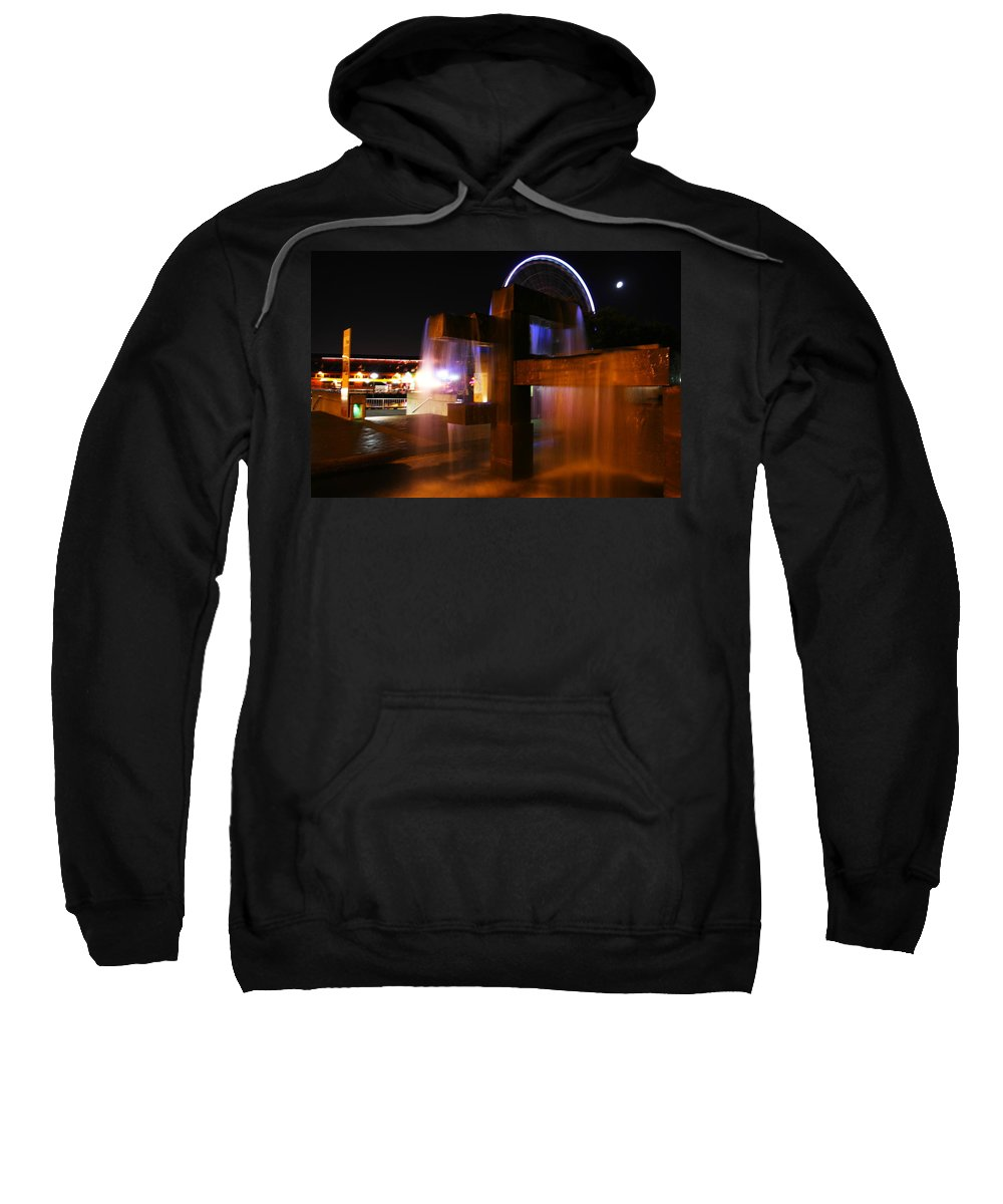 Water Sweatshirt featuring the photograph Fountain Foreground The Seattle Ferris Wheel by Jeff Swan