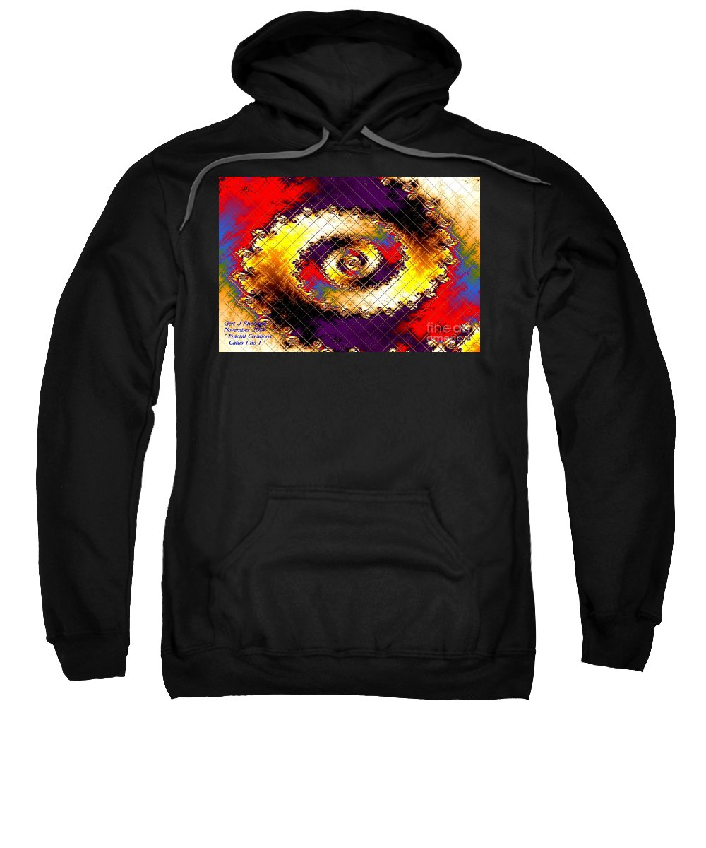 Landscape Sweatshirt featuring the painting Fractal Abstract Creations Catus 1 No 1 H by Gert J Rheeders