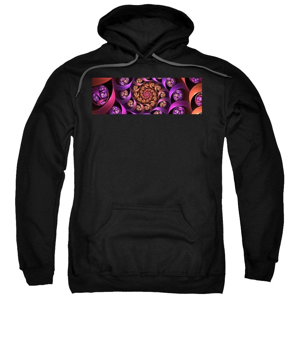 Digital Art Sweatshirt featuring the digital art Fractal Multicolored Depth by Gabiw Art