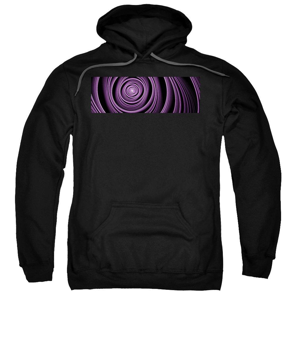 Fractal Sweatshirt featuring the digital art Fractal Purple Swirl by Gabiw Art