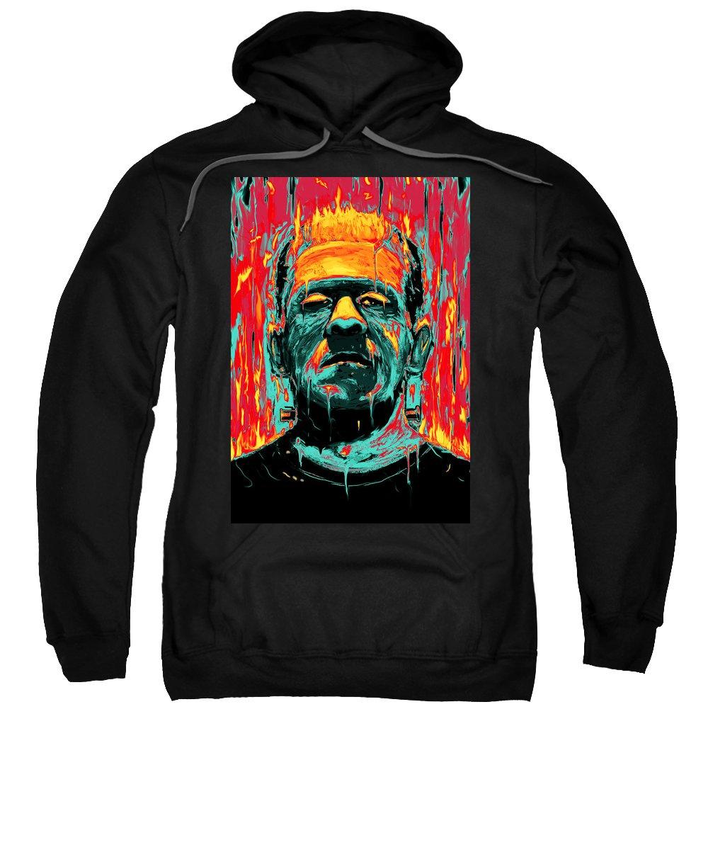Frankenstein Sweatshirt featuring the digital art Frankenstein by Nicebleed