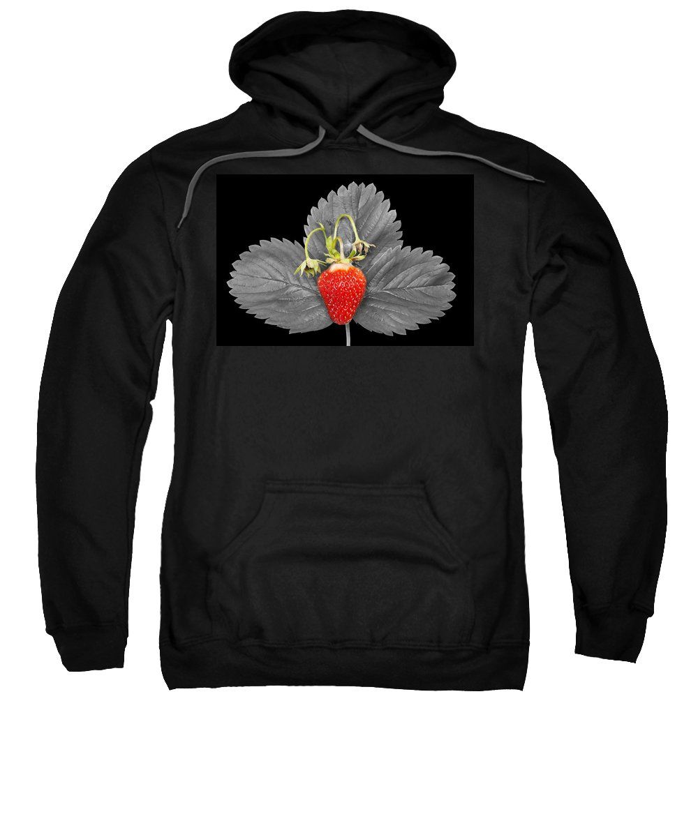 Fresh Sweatshirt featuring the photograph Fresh Strawberry And Leaves by Donald Erickson