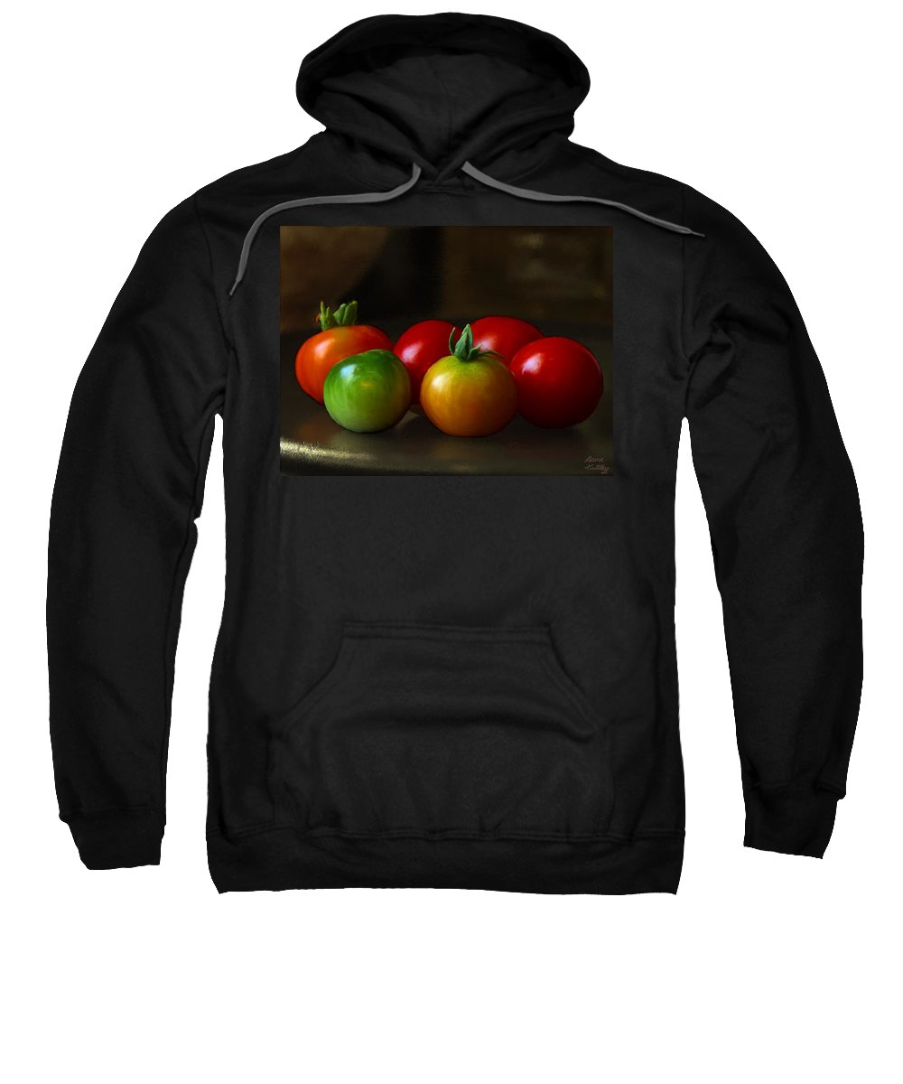 Red Sweatshirt featuring the painting Fresh Tomatoes by Bruce Nutting