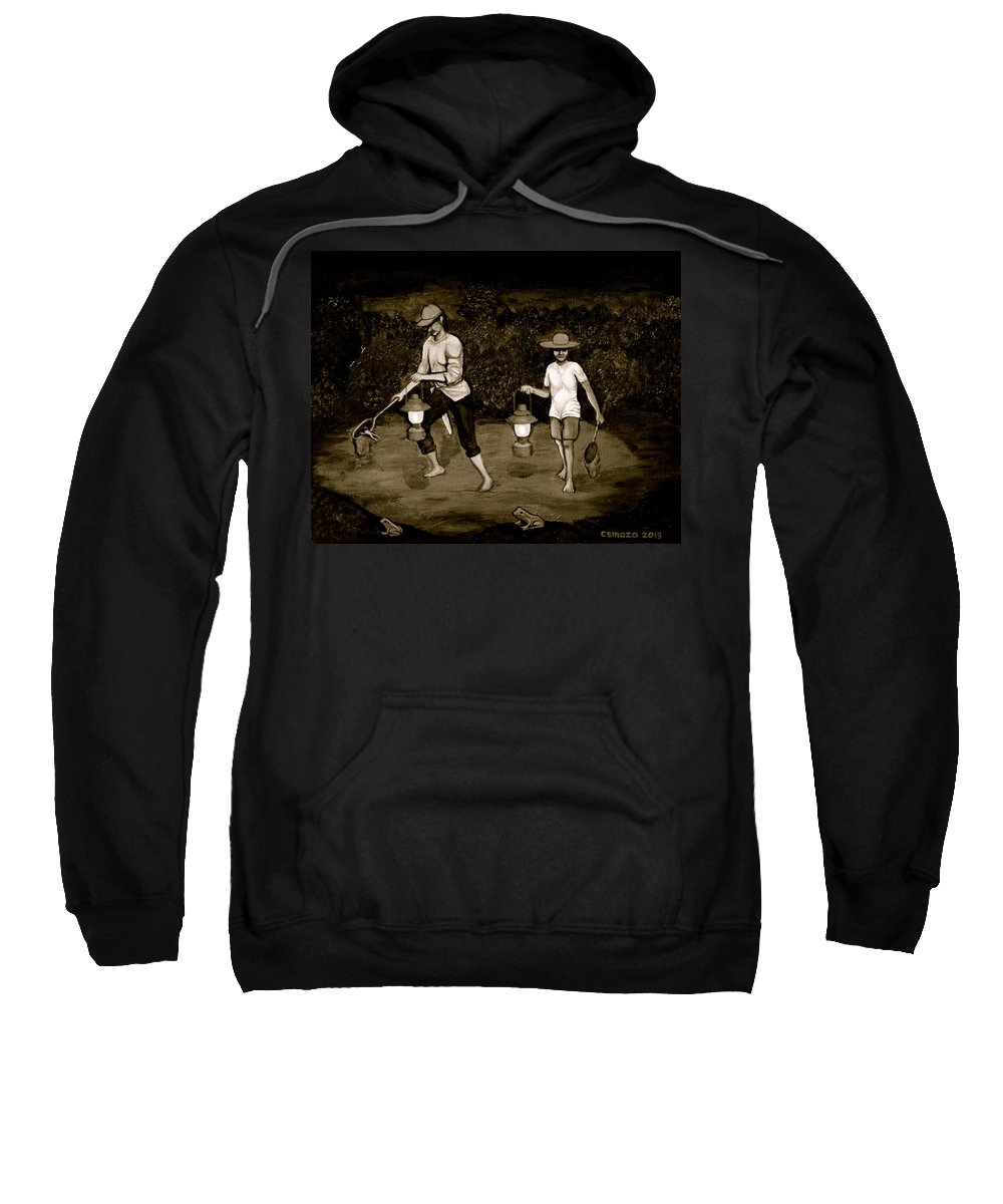 Frog Hunters Sweatshirt featuring the painting Frog Hunters Black and White Photograph Version by Cyril Maza