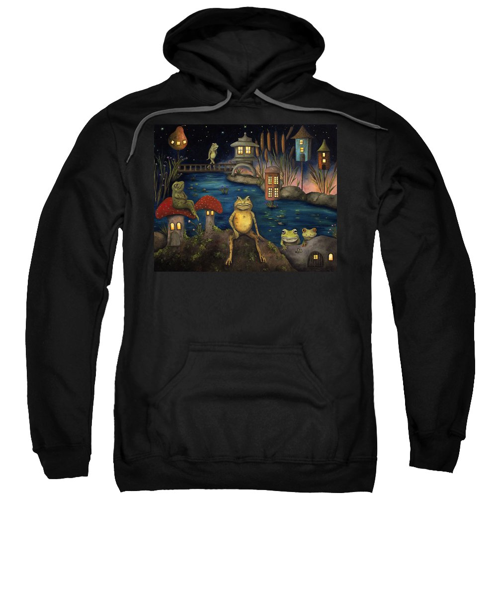 Frog Sweatshirt featuring the painting Frogland by Leah Saulnier The Painting Maniac