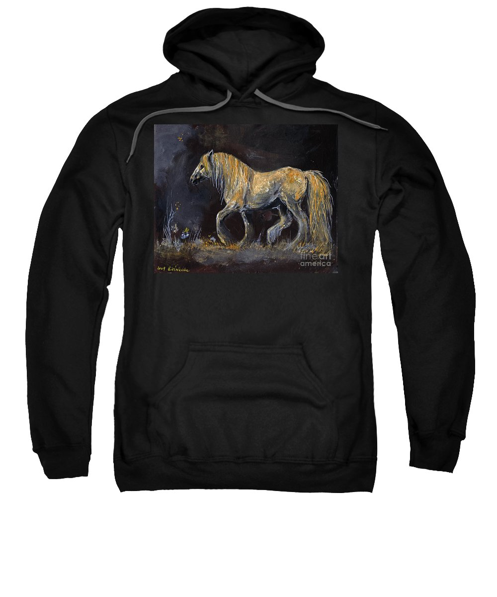 Shire Horse Sweatshirt featuring the painting From The Darkness by Angel Ciesniarska