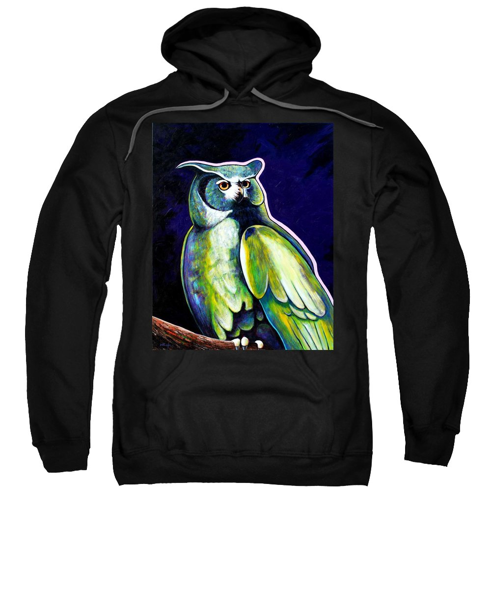 Owl Sweatshirt featuring the painting From The Shadows by Joe Triano