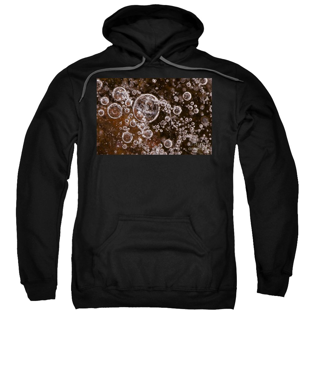 Abstract Sweatshirt featuring the photograph Frozen Bubbles by Anne Gilbert