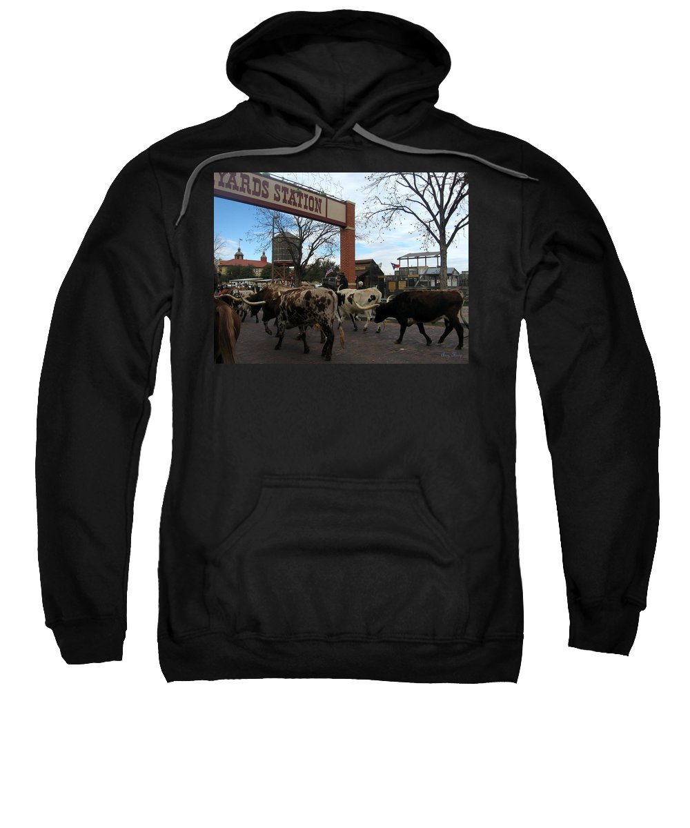 Fort Worth Sweatshirt featuring the photograph Ft Worth Trail Ride At Ft Worth Stockyard by Amy Hosp