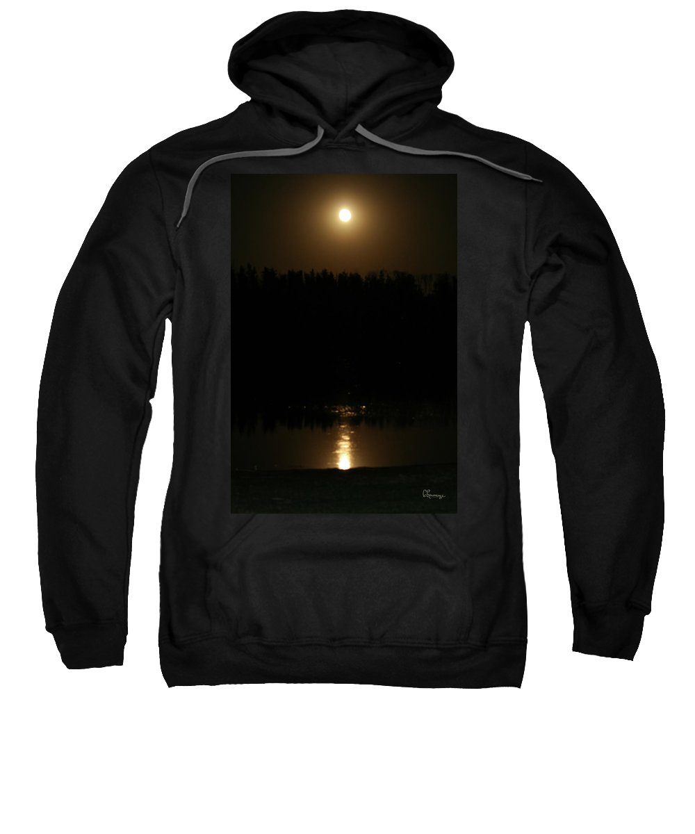 Moon Reflecting On The Lake Trees Forest 12 Midnight Sweatshirt featuring the photograph Full Moon On Piprell Lake by Andrea Lawrence