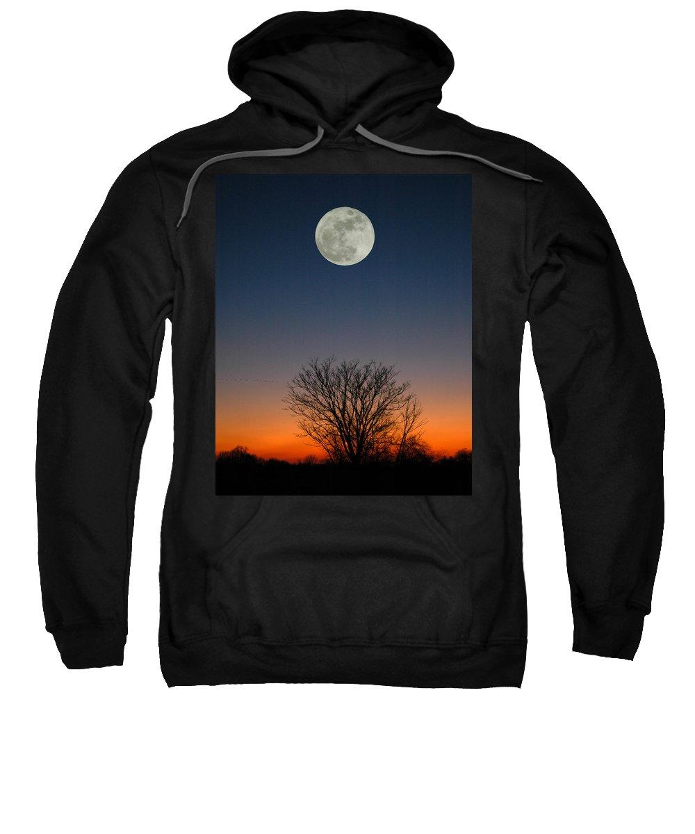 Full Moon Sweatshirt featuring the photograph Full Moon Rising by Raymond Salani III