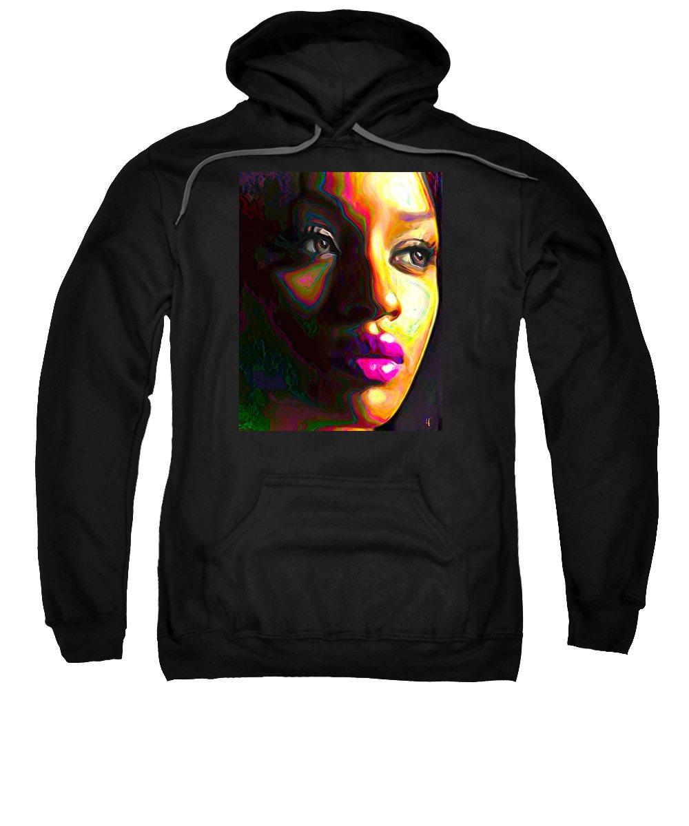 Woman Sweatshirt featuring the painting Fuschia by Fli Art