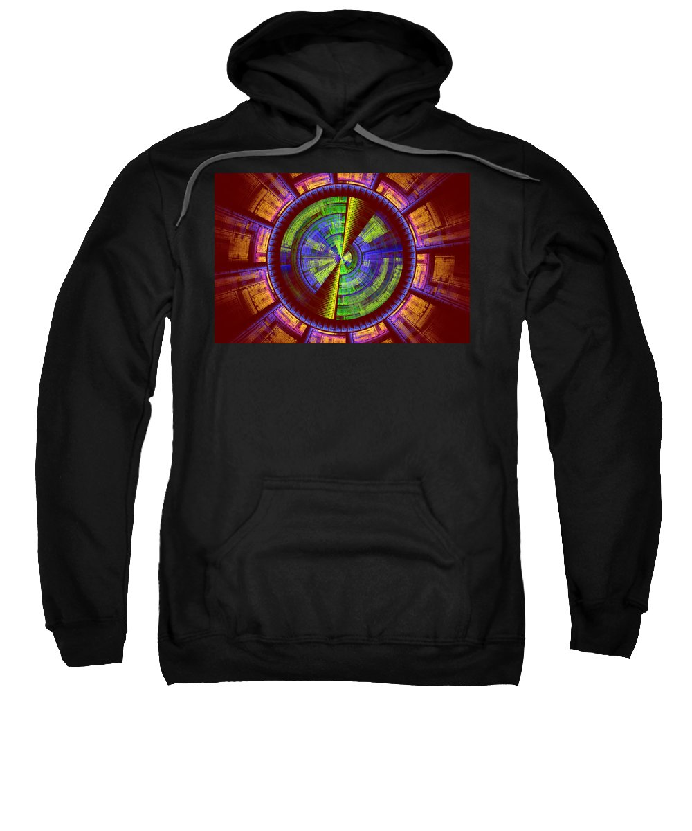 Fractal Sweatshirt featuring the photograph Futuristic Tech Disc Red Green And Yellow Fractal Flame by Keith Webber Jr