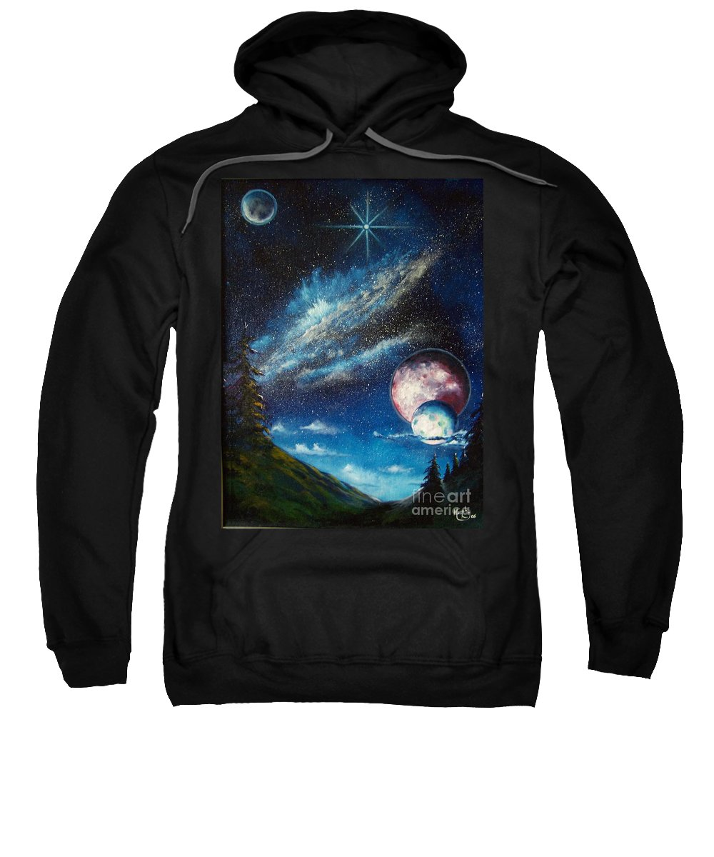 Space Horizon Sweatshirt featuring the painting Galatic Horizon by Murphy Elliott