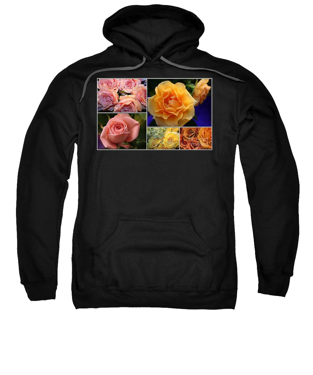 Roses Sweatshirt featuring the photograph Beautiful Roses- A Collage by Dora Sofia Caputo Photographic Design and Fine Art