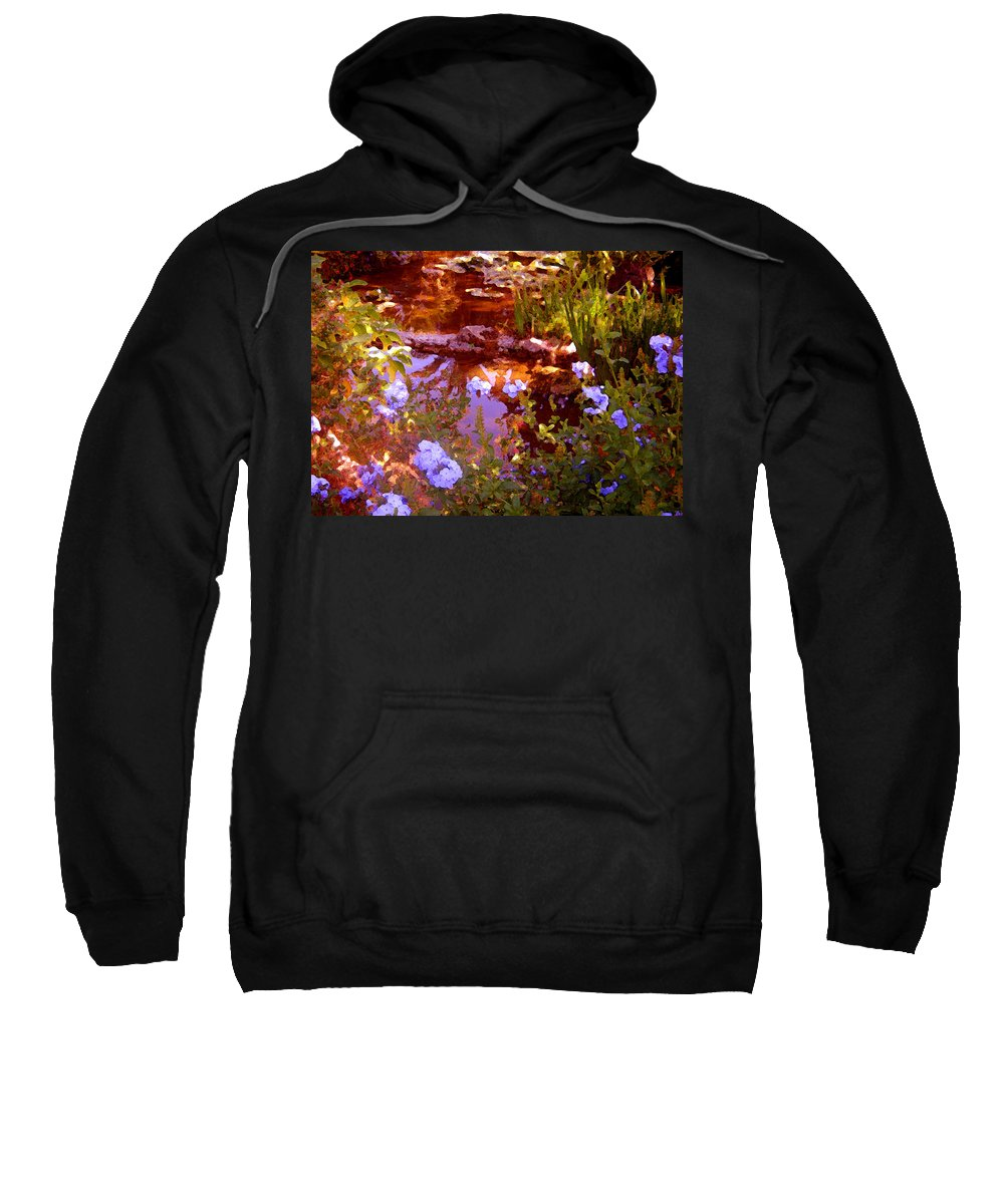 Landscapes Sweatshirt featuring the painting Garden Pond by Amy Vangsgard