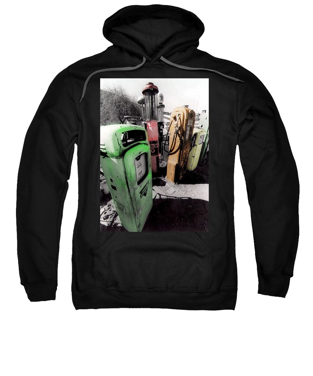 B&w Sweatshirt featuring the photograph Gas Pump Grave 23 by Timothy Bischoff