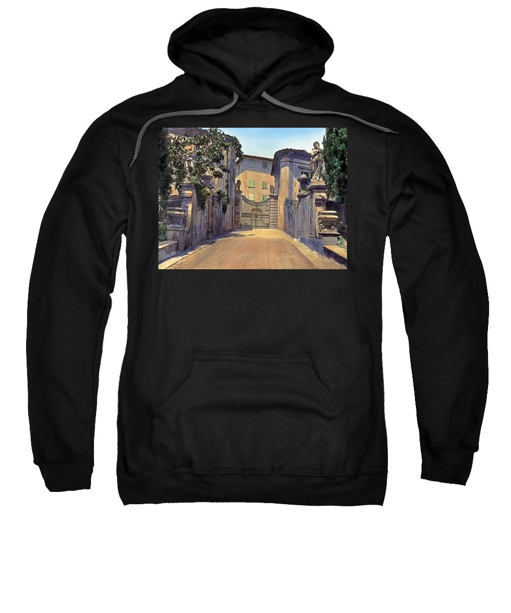 Tranquil Sweatshirt featuring the painting Gate And Lions by Terry Reynoldson