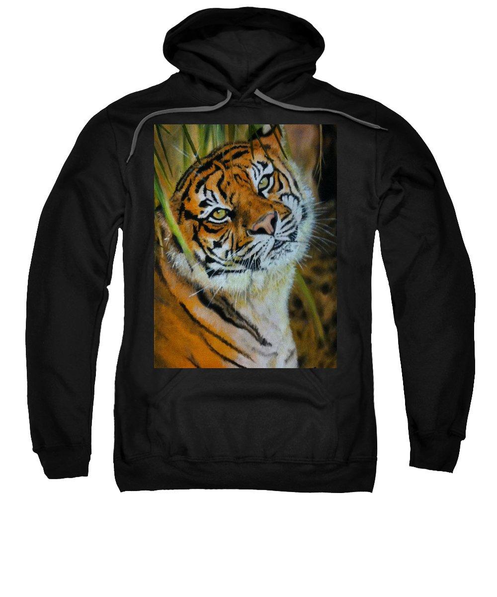 Tiger Sweatshirt featuring the painting Gaze by Lita Yulia Litvinova
