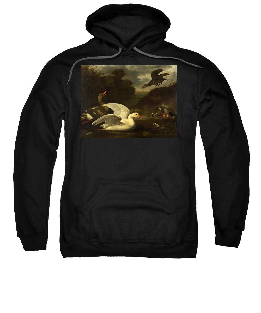 Johannes Spruyt Sweatshirt featuring the painting Geese And Ducks by Johannes Spruyt