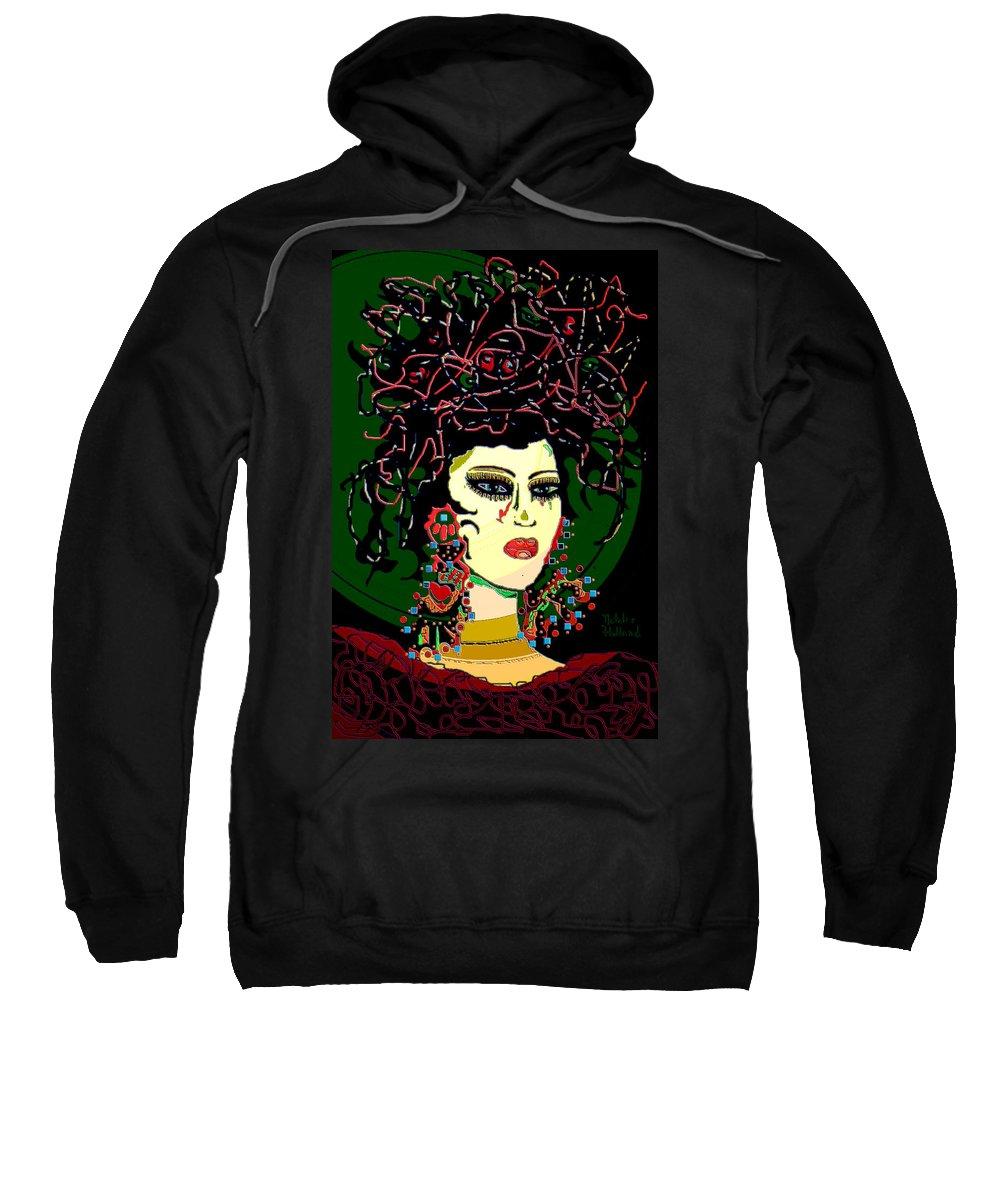 Geisha Sweatshirt featuring the mixed media Geisha 6 by Natalie Holland