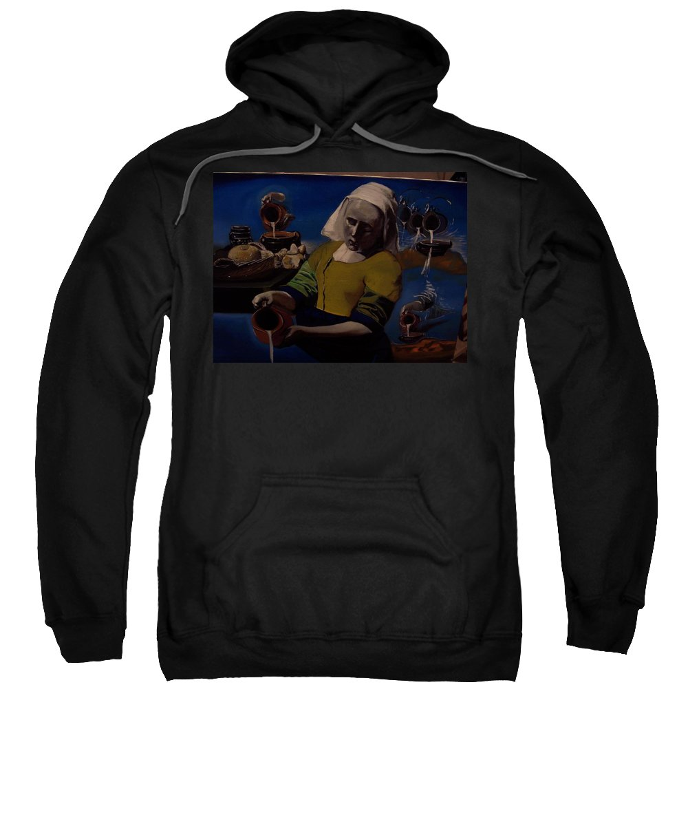 Sweatshirt featuring the painting Geological Milk Maid Anthropomorphasized by Jude Darrien