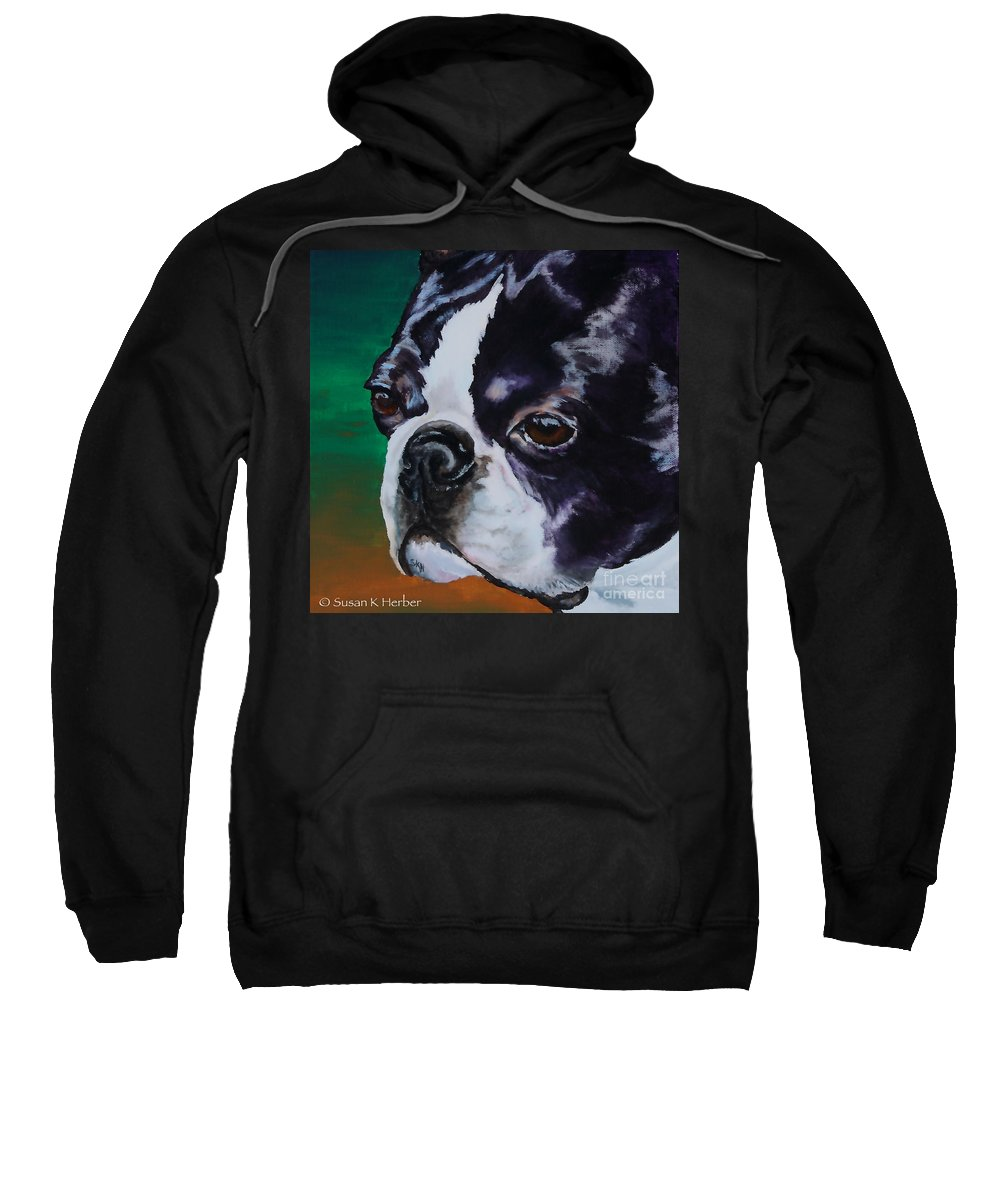 Animal Sweatshirt featuring the painting George by Susan Herber
