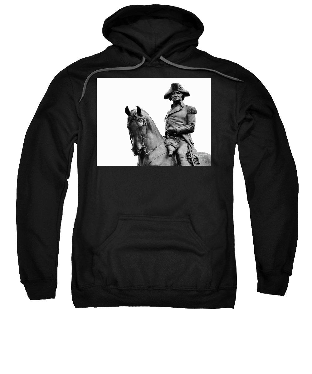 George Washington Sweatshirt featuring the photograph George Washington Statue Boston Ma by Staci Bigelow