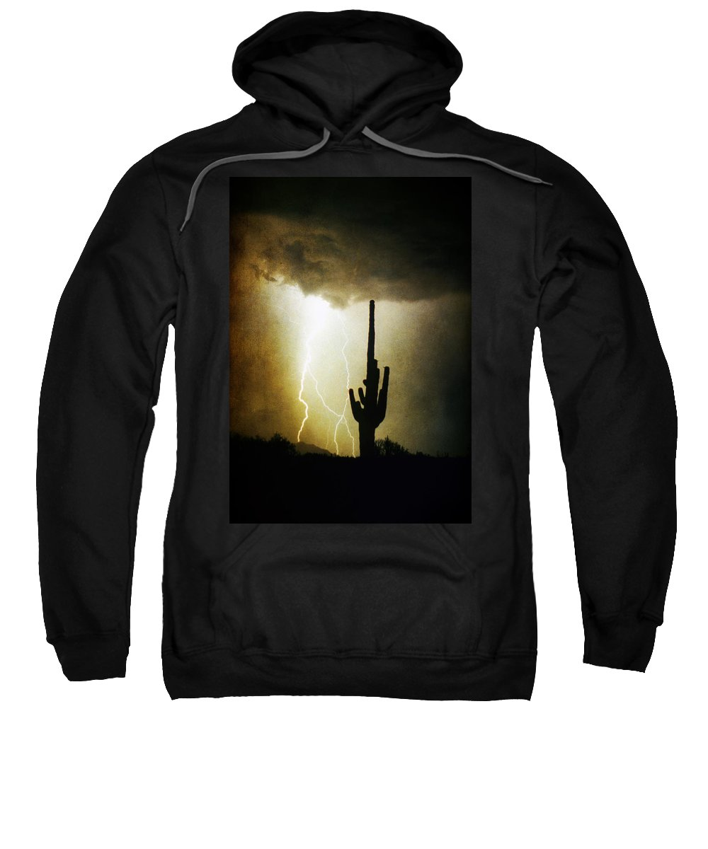 Lightning Sweatshirt featuring the photograph Giant Saguaro Lightning Spiral Fine Art Photography Print by James BO Insogna