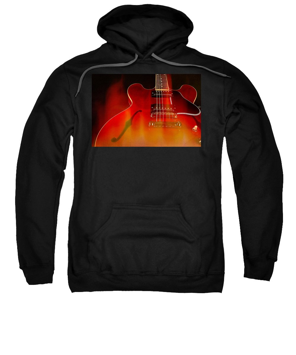 Guitar Sweatshirt featuring the photograph Gibson Es-335 On Fire by John Cardamone