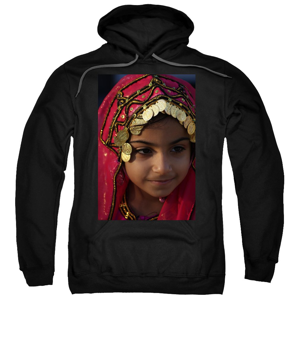 Oman Sweatshirt featuring the photograph Girl In Red by Debi Demetrion
