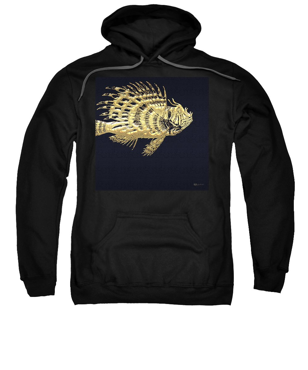 'beasts Creatures And Critters' Collection By Serge Averbukh Sweatshirt featuring the digital art Golden Parrot Fish On Charcoal Black by Serge Averbukh