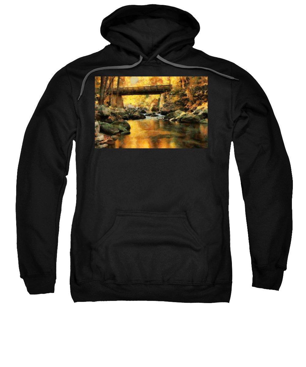 Golden Reflection Autumn Bridge Sweatshirt featuring the painting Golden Reflection Autumn Bridge by Dan Sproul