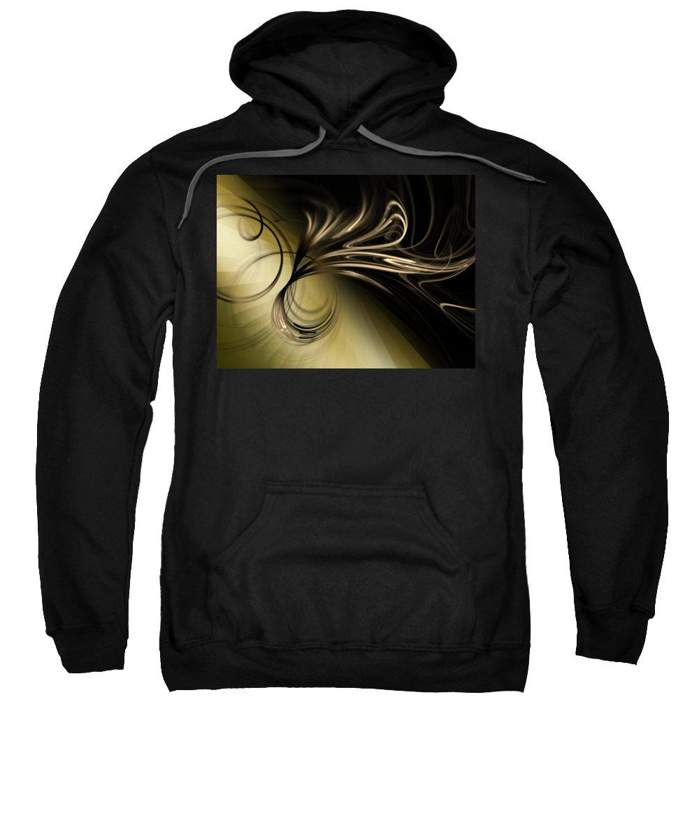 Gold Sweatshirt featuring the digital art Golden Scroll by Kiki Art