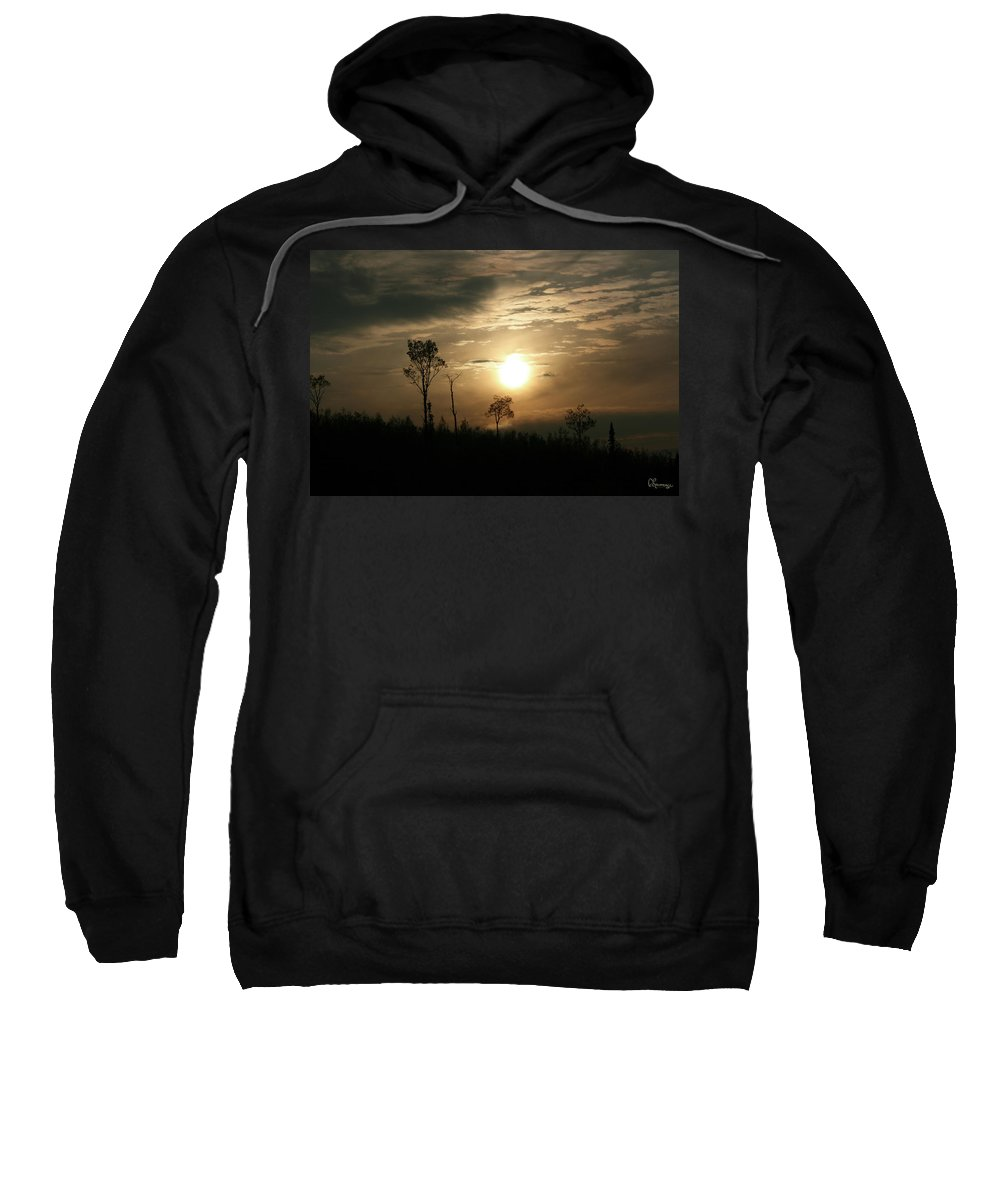 Sand Lake Sunset Northern Saskatchewan Sky Clouds Trees Sun Bush Country Forest Nature Sweatshirt featuring the photograph Good Night by Andrea Lawrence
