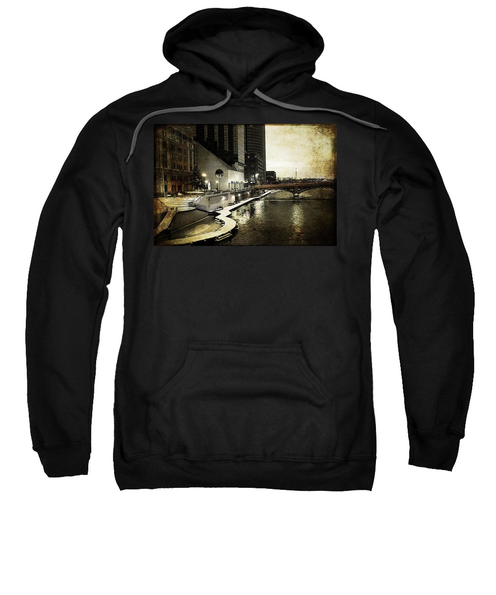 Evie Sweatshirt featuring the photograph Grand Rapids Grand River by Evie Carrier