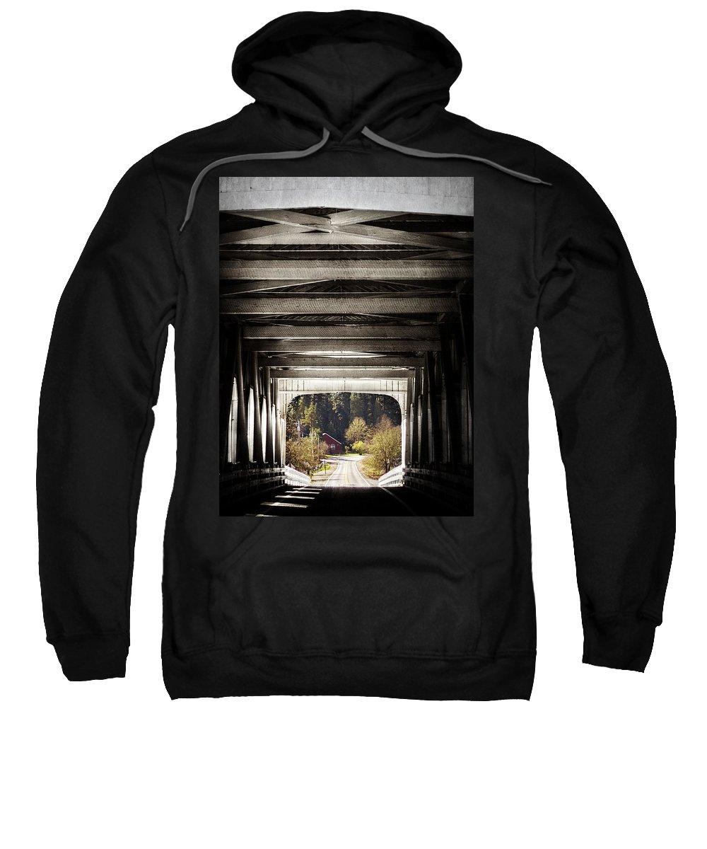 Bridge Sweatshirt featuring the photograph Grave Creek Covered Bridge by Melanie Lankford Photography